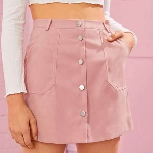 Pink button down A line mini skirt